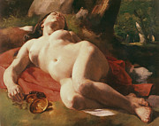 Nudes Paintings - La Bacchante by Gustave Courbet