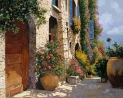 Romantic Framed Prints - La Bella Strada Framed Print by Guido Borelli