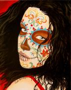 Day Of The Dead Painting Posters - La Belleza en el Viento Poster by Al  Molina