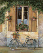 Window Framed Prints - La Bici Framed Print by Guido Borelli