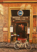 Cobblestone Paintings - La Bicicletta by Charlotte Blanchard