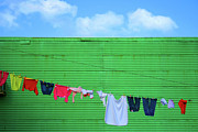 Hanging Laundry Framed Prints - La Boca Framed Print by Silkegb