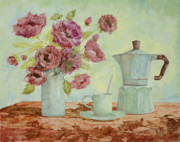 Still Life Painting Posters - La Caffettiera E I Fiori Amaranto Poster by Guido Borelli
