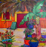 Tropical Painting Metal Prints - La Cantina Metal Print by Patti Schermerhorn