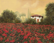 White Painting Prints - La casa e i papaveri Print by Guido Borelli