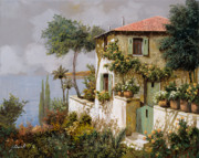 Lakescape Framed Prints - La Casa Giallo-verde Framed Print by Guido Borelli