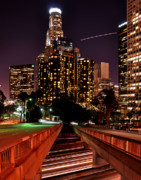 Los Angeles Skyline Metal Prints - LA City Lights Metal Print by Matt MacMillan