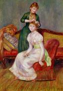 Sofa Framed Prints - La Coiffure Framed Print by Renoir