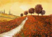 Landscapes Glass Prints - La Collina Dei Papaveri Print by Guido Borelli