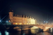 Architectural Feature Photos - La Conciergerie and the Pont Neuf bridge over the Seine river in Paris by Sami Sarkis