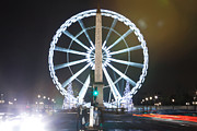 Vintage Paris Originals - La Concorde ferris wheel at Paris Champs Elysees at night during Christmas  by Mao Xiangchang