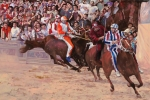 Horses Framed Prints - La Corsa Del Palio Framed Print by Guido Borelli