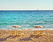 Beach Umbrella Framed Prints - La Croisette Beach, Cannes, Cote Dazur, France Framed Print by John Harper