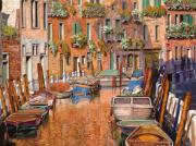 Boats Paintings - La Curva Sul Canale by Guido Borelli
