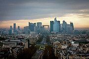 Financial  District Framed Prints - La Defense At Sunset Framed Print by Philipp Kern