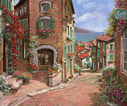 Red Prints - La Discesa Al Mare Print by Guido Borelli
