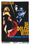 Smoking Book Framed Prints - La Dolce Vita, Anita Ekberg, Marcello Framed Print by Everett