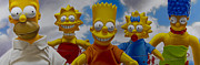 Simpsons Paintings - La Famiglia Simpson by Tony Chimento