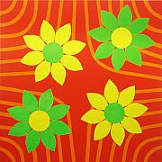 Vivid Orange Paintings - La Flor de la Vida by Oliver Johnston