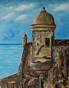 Old San Juan Painting Metal Prints - La Garita  Metal Print by Gloria E Barreto-Rodriguez