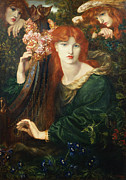 Angels Watching Metal Prints - La Ghirlandata Metal Print by Dante Charles Gabriel Rossetti