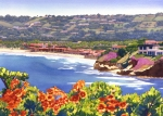 Pacific Ocean Painting Posters - La Jolla Beach and Tennis Club Poster by Mary Helmreich