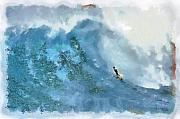 California Big Wave Surf Prints - La Jolla Big Surf Print by Russ Harris