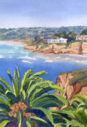 California Coast Paintings - La Jolla Coast by Mary Helmreich