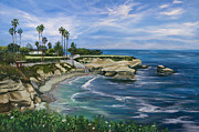 La Jolla Surfers Prints - La Jolla Cove Print by Lisa Reinhardt