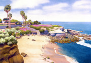 Palm Trees Paintings - La Jolla Cove by Mary Helmreich