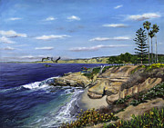 Sea Gulls Prints - La Jolla Cove West Print by Lisa Reinhardt