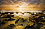 Sunset Seascape Framed Prints - La Jolla Horseshoe Framed Print by Joel Olives