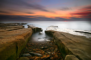 California Surf Prints - La Jolla Reef Sunset 2 Print by Larry Marshall