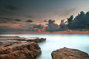 Long Exposure Art - La Jolla Reef Sunset 6 by Larry Marshall