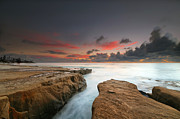 California Surf Prints - La Jolla Reef Sunset 9 Print by Larry Marshall