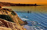 Rocky Coast Photos - La Jolla Scripps Pier Sunset by Russ Harris