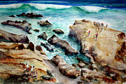 Spectators Paintings - La Jolla Shores by John D Mabry