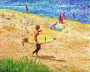 Woodies Framed Prints - La Jolla Surfers Framed Print by Marilyn Sholin