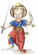 Margaret Thatcher Scales Justice Tarot Caricature Sword Prints - La Justice Print by Debbie  Diamond