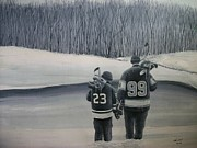 Hockey Player Painting Originals - La Kings in Black and White by Ron  Genest