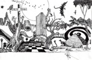 Surrealism Landscape Drawings Prints - La La Land Print by Doug Hiser