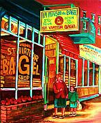 Montreal Storefronts Paintings - La Maison Du Bagel by Carole Spandau