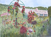 Roses Poppies Paintings - La Maison et Le Jardin de Monet by Donna Walsh