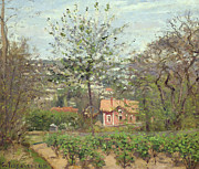 Trees Blossom Paintings - La Maison Rose by Camille Pissarro