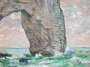Signed Prints - La Manneporte a Etretat Print by Claude Monet