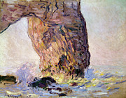 Breakers Posters - La Manneporte Poster by Claude Monet