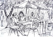 Umbrella Drawings Framed Prints - La Margarita Restaurant Framed Print by Bill Joseph  Markowski
