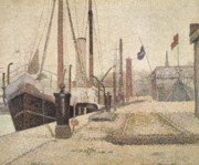 Boats At Dock Framed Prints - La Maria at Honfleur Framed Print by Georges Pierre Seurat