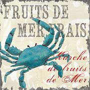 Text Words Posters - La Mer Shellfish 1 Poster by Debbie DeWitt