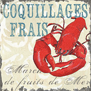 French Text Posters - La Mer Shellfish 2 Poster by Debbie DeWitt